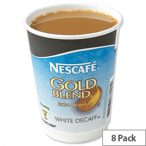 Nescafe &Go Gold Blend Decaff White Coffee Foil Sealed Cups for Drinks Machine A02783 Pack 8