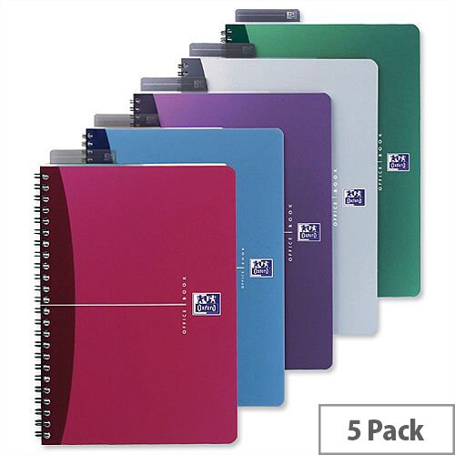 Oxford Office A5 Notebook Wirebound Plastic Cover Assorted Pack 5