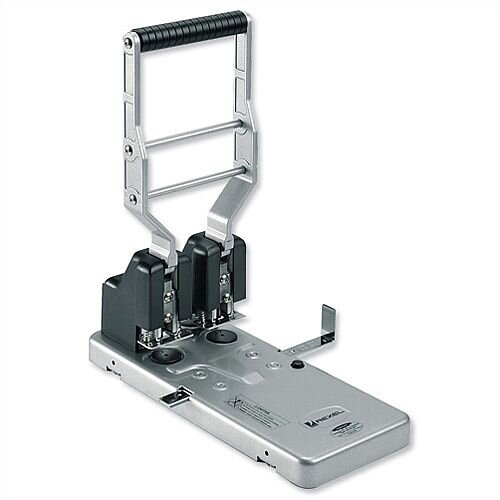 Rexel HD2150 2 Hole Punch Heavy Duty Metal Silver and Black 160 Sheet Capacity