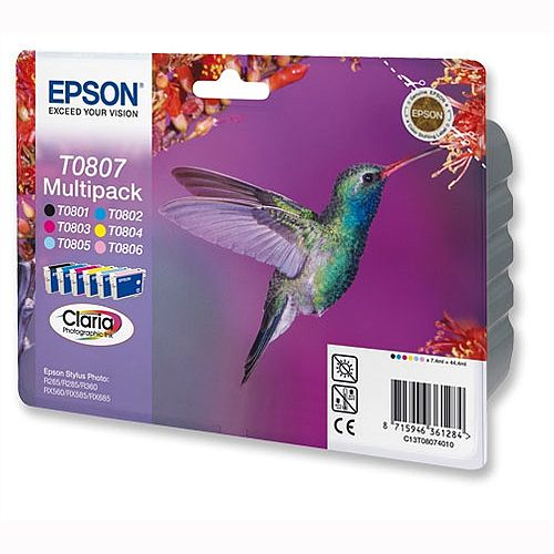Epson T0807 6-Colour Ink Cartridge Hummingbird Series C13T08074011