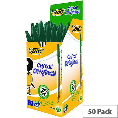Bic Cristal Ballpoint Pens Green Clear Barrel Pack 50