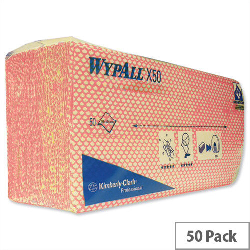 Wypall X50 Cleaning Cloths Absorbent Strong Non-woven Tear-resistant Red Ref 7444 Pack 50 792094