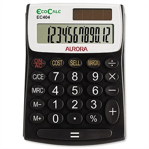 Aurora EcoCalc Desktop Calculator Solar and Battery Power EC404