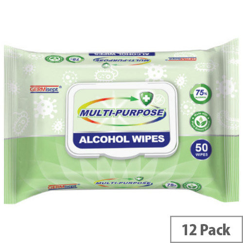 Germisept Multipurpose 75% Alcohol Wipes 50 Wipes Per Pack (12 Pack)