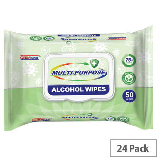 Germisept Multipurpose 75% Alcohol Wipes 50 Wipes Per Pack (24 Pack)