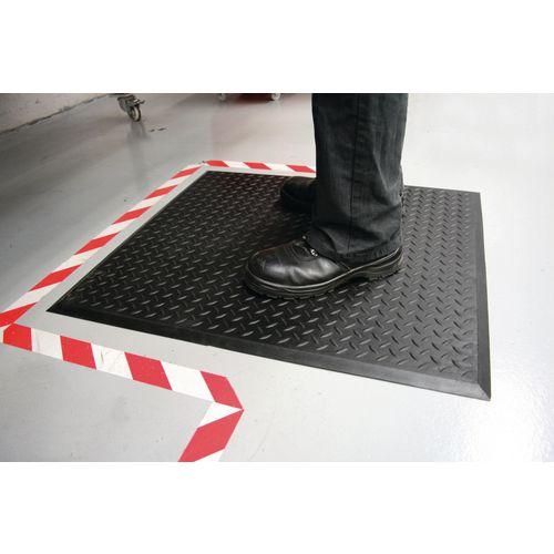 Mat Anti-fatigue Rubber Textured Anti-slip Bevelled-edge 700x800mm Ripple Pattern Pack of 2