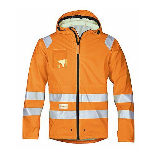 Snickers 8233 High-Vis PU Rain Jacket Orange Class 3 Size XL