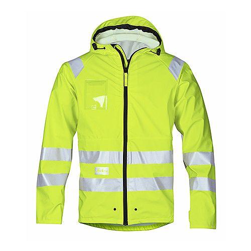 Snickers 8233 High-Vis PU Rain Jacket Yellow Class 3 Size XS