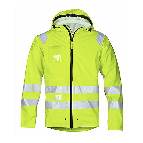 Snickers 8233 High-Vis PU Rain Jacket Yellow Class 3 Size L