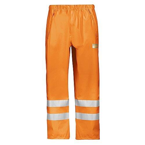Snickers 8243 High-Vis PU Rain Trousers, Class 2 Size L Orange