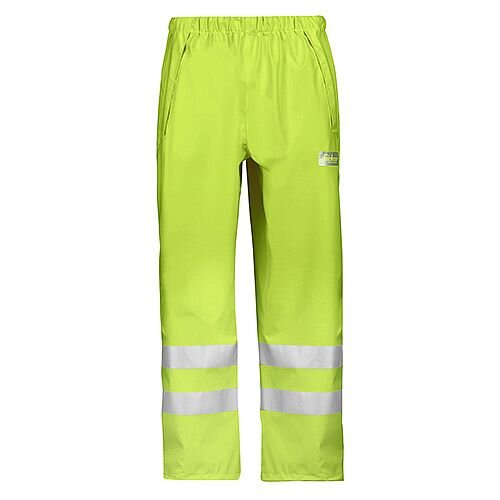 Snickers 8243 High-Vis PU Rain Trousers, Class 2 Size M Yellow