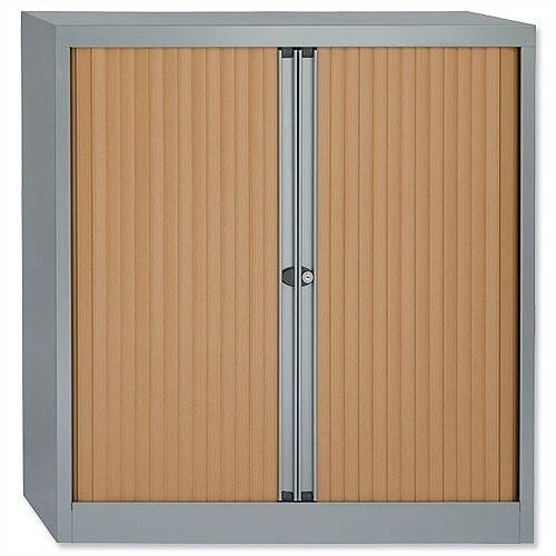 Bisley A4 EuroTambour Including 2 Shelves W1000xD430xH1030mm Beech Shutters Silver Frame ET410/10/2SB