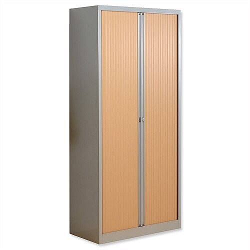 Bisley Euro Tambour for A4 W1000xD430xH1980mm 4 Shelves Beech Silver ET410/19/4SB