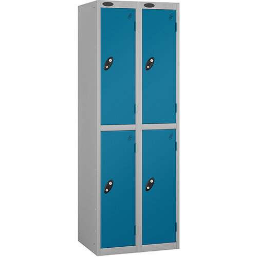 Probe 2 Door Extra Deep Locker ACTIVECOAT W305xD460xH1780mm Nest of 2 Silver Body Blue Doors By Lion Steel