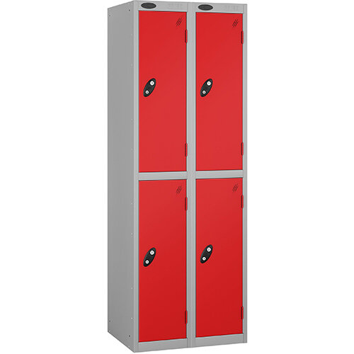 Probe 2 Door Extra Deep Locker ACTIVECOAT W305xD460xH1780mm Nest of 2 Silver Body Red Doors By Lion Steel