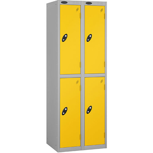 Probe 2 Door Extra Deep Locker ACTIVECOAT W305xD460xH1780mm Nest of 2 Silver Body Yellow Doors By Lion Steel