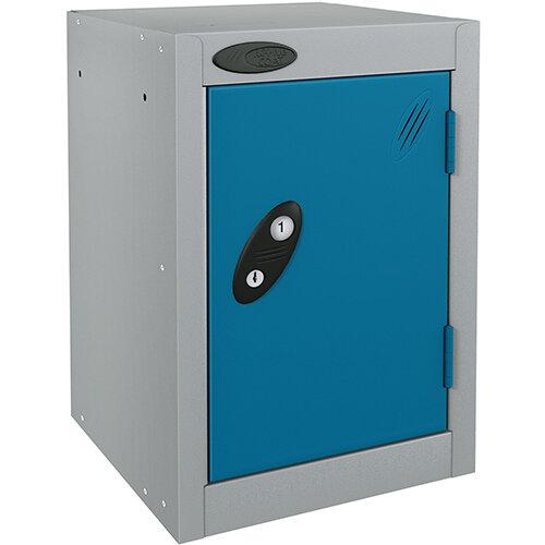 Probe Quarto 1 Door Small Locker ACTIVECOAT 305x305x480mm Silver Body &Blue Doors