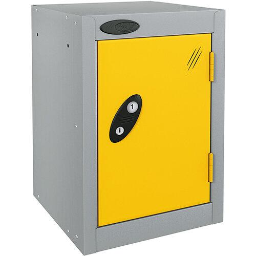 Probe Quarto 1 Door Small Locker ACTIVECOAT 305x305x480mm Silver Body &Yellow Doors