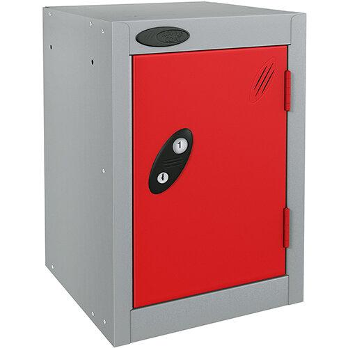 Probe Quarto 1 Door Small Locker Extra Deep ACTIVECOAT 305x460x480mm Silver Body &Red Doors