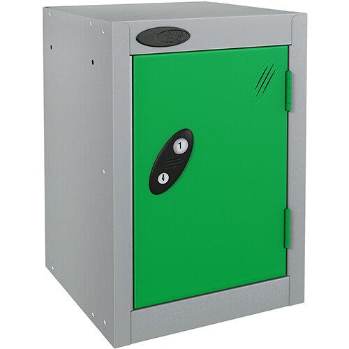 Probe Quarto 1 Door Small Locker Extra Deep ACTIVECOAT 305x460x480mm Silver Body &Green Doors