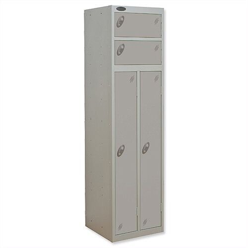 2 Person Locker Silver Body Silver Doors Probe