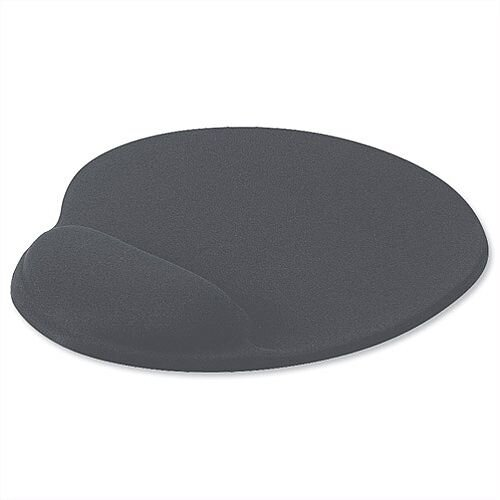 Mouse Mat Ergonomic Non-slip with Gel Wrist Rest Grey Charcoal
