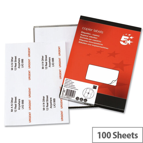 4 labels per sheet copier 105x149mm 400 labels 5 star huntoffice ie