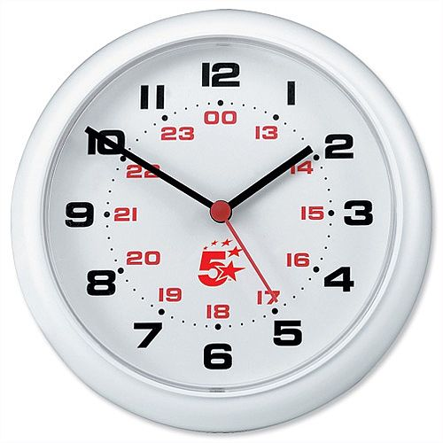Office Wall Clock White 213mm Diameter 24 Hour Dial 5 Star