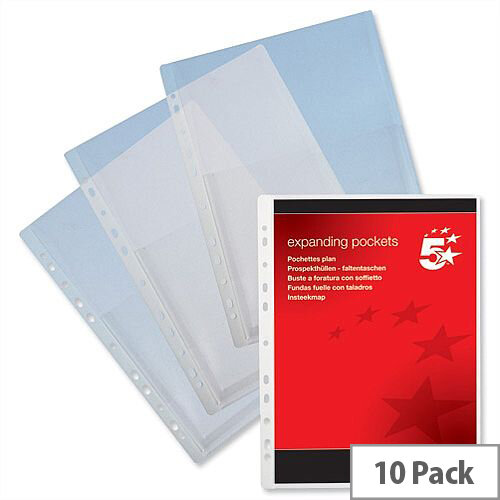 Expanding Punched Pockets PVC A4 Clear 200 Micron Pack 10 5 Star