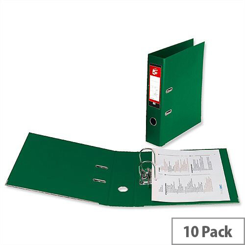 5 Star Office Lever Arch File Polypropylene Capacity 70mm Foolscap Green Pack of 10