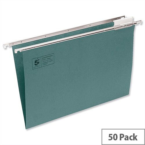 A4 Suspension File Green Heavyweight with Tabs and Inserts Pack 50 5 Star - 150 Sheet Capacity Suspension Files - Suspension Files Manufactured From Heavyweight Manilla Material
