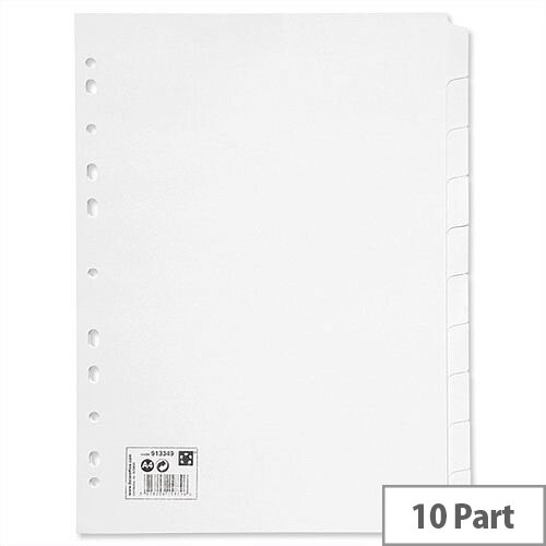 10 Part Subject Dividers A4 White 5 Star