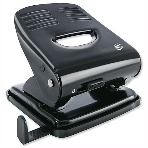 2 Hole Paper Punch Metal with Plastic Base Capacity 30 sheets Black and Grey 5 Star