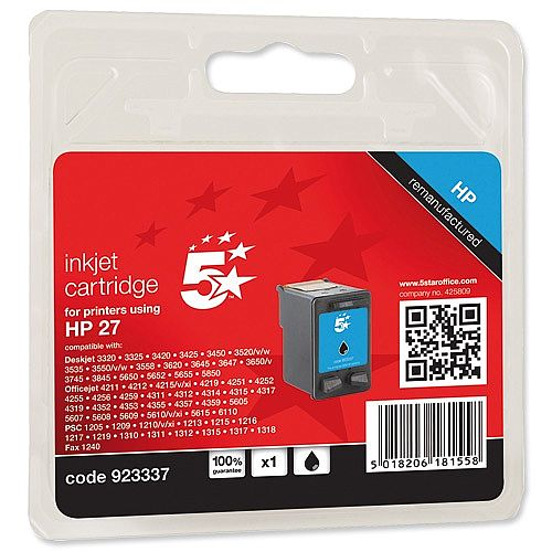 HP 27 Compatible Black Ink Cartridge C8727AE 5 Star