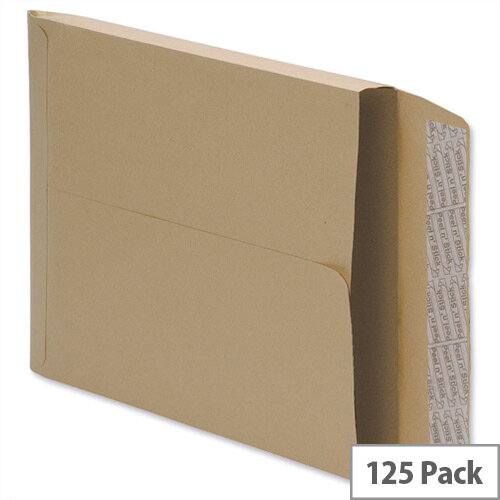 5 Star Office Envelopes Gusset 25mm Peel and Seal 115gsm Manilla 350x248mm Pack of 125