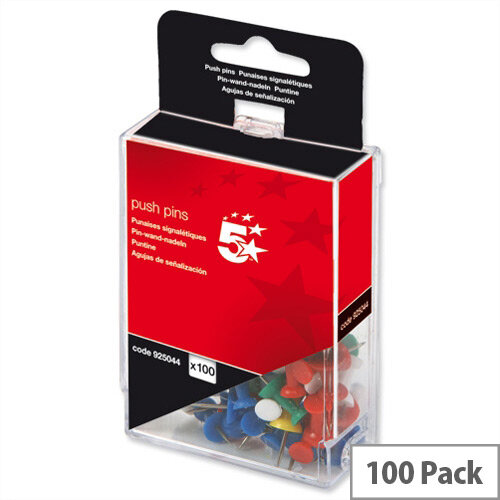 Office Push Pins Assorted Opaque Pack 100 5 Star