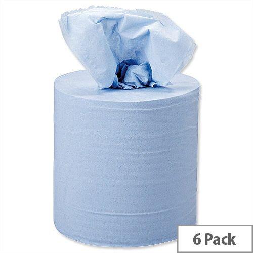 5 Star Centrefeed Blue Paper Tissue Refill Rolls L150m x W195mm for Dispenser 2-ply 150m (6 Rolls)