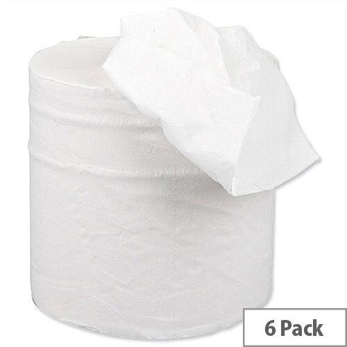 5 Star Centrefeed Paper Tissue Refill Rolls for Dispenser White 2ply 150m (6 Rolls)