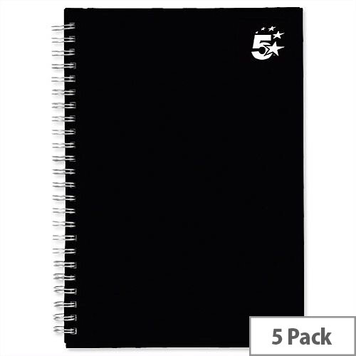 5 Star A5 Wirebound Notebook Hard Cover Black Pack 5