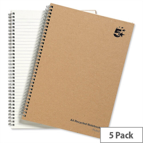 5 Star A4 Wirebound Hard Cover Notebook Recycled Manilla Pack 5