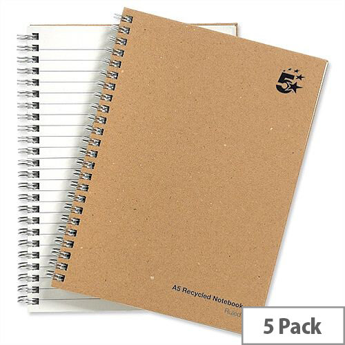 5 Star A5 Wirebound Hard Cover Notebook Recycled Manilla Pack 5