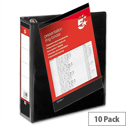 Black 4 Ring Presentation Binder 4 D Ring PVC 50mm A4 Pack 10 5 Star