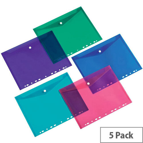 5 Star Office Punched Filing Pockets Assorted  Pack 5