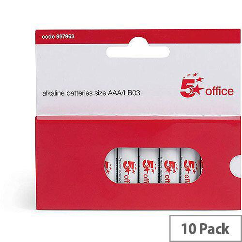 5 Star Office  AAA  LR03 Alkaline Batteries  Pack of 10