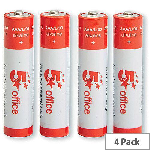 5 Star Office  AAA  LR03 Alkaline Batteries  Pack of 4