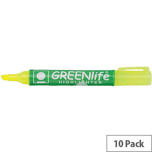 5 Star Eco Highlighter Pens 1-5mm Line Yellow Pack 10