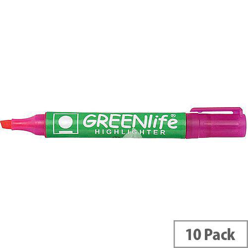 5 Star Eco Highlighter Pens 1-5mm Line Pink Pack 10