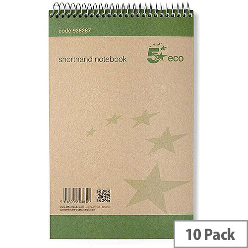 5 Star Eco  127x200  Shorthand Notebook 80 Sheets  Pack of 10