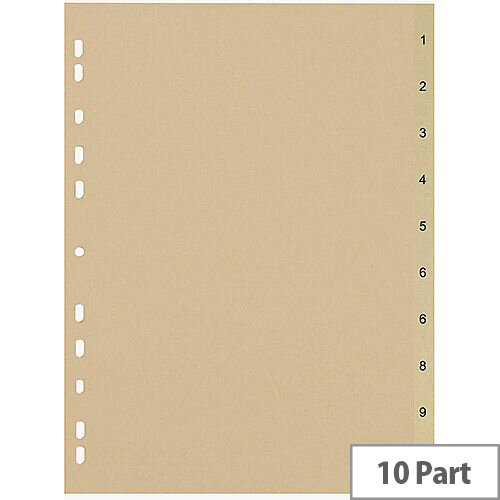 5 Star Eco File Divider Numbered Tabs 1-10 Recycled Manilla 11 Holes A4 Buff