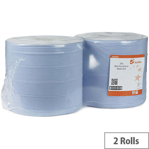 5 Star Facilities Cleaning Paper Wiper Rolls 2-ply Perforated Sheet 260x370mm Roll 40gsm 370m Blue (Pack 2)